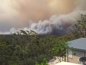 Within 45 min of starting this bush fire roared down the ridge opposite our home creating a path of distruction not seen since 1968.